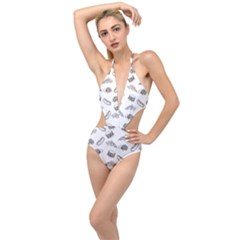 Fast Food Pattern Plunging Cut Out Swimsuit