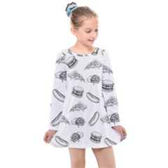 Fast Food Pattern Kids  Long Sleeve Dress