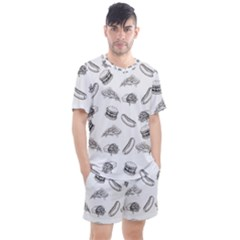 Fast Food Pattern Men s Mesh Tee And Shorts Set