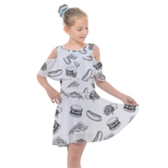 Fast Food Pattern Kids  Shoulder Cutout Chiffon Dress