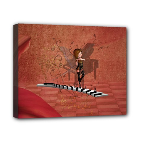 Cute Fairy Dancing On A Piano Canvas 10  X 8  (stretched) by FantasyWorld7