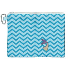 Chevron Mermaid Pattern Canvas Cosmetic Bag (xxl) by emilyzragz