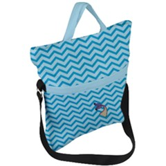 Chevron Mermaid Pattern Fold Over Handle Tote Bag