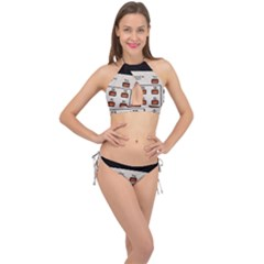 Vintage Calculator Cross Front Halter Bikini Set