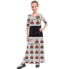 Vintage Calculator Kids  Quarter Sleeve Maxi Dress