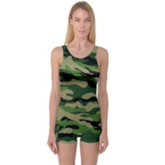 Green Military Vector Pattern Texture One Piece Boyleg Swimsuit by Samandel