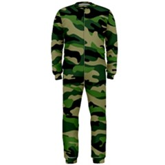 Green Military Vector Pattern Texture Onepiece Jumpsuit (men)  by Samandel