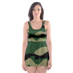 Green Military Vector Pattern Texture Skater Dress Swimsuit by Samandel