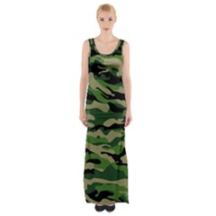 Green Military Vector Pattern Texture Maxi Thigh Split Dress by Samandel