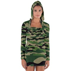 Green Military Vector Pattern Texture Long Sleeve Hooded T Shirt
