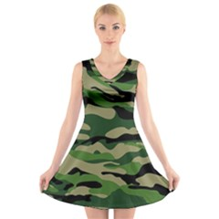 Green Military Vector Pattern Texture V Neck Sleeveless Dress
