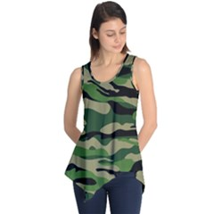 Green Military Vector Pattern Texture Sleeveless Tunic by Samandel