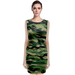Green Military Vector Pattern Texture Classic Sleeveless Midi Dress by Samandel
