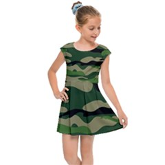 Green Military Vector Pattern Texture Kids Cap Sleeve Dress by Samandel