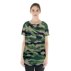 Green Military Vector Pattern Texture Skirt Hem Sports Top