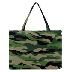 Green Military Vector Pattern Texture Zipper Medium Tote Bag
