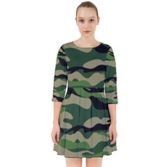 Green Military Vector Pattern Texture Smock Dress by Samandel