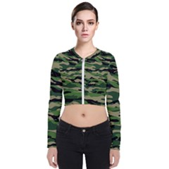 Green Military Vector Pattern Texture Zip Up Bomber Jacket