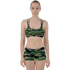Green Military Vector Pattern Texture Women s Sports Set by Samandel