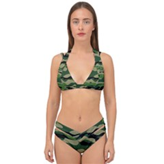 Green Military Vector Pattern Texture Double Strap Halter Bikini Set by Samandel