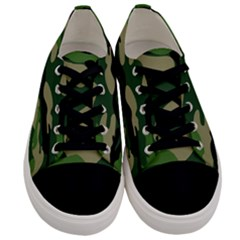 Green Military Vector Pattern Texture Men s Low Top Canvas Sneakers