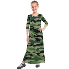 Green Military Vector Pattern Texture Kids  Quarter Sleeve Maxi Dress by Samandel