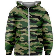 Green Military Vector Pattern Texture Kids Zipper Hoodie Without Drawstring