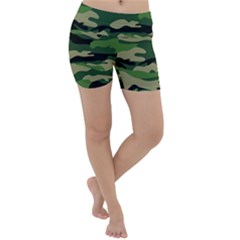 Green Military Vector Pattern Texture Lightweight Velour Yoga Shorts
