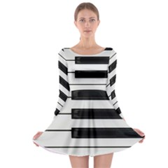Keybord Piano Long Sleeve Skater Dress
