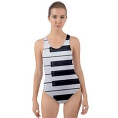 Keybord Piano Cut Out Back One Piece Swimsuit