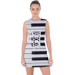Keybord Piano Lace Up Front Bodycon Dress