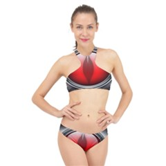 Red Eye High Neck Bikini Set