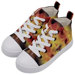 Fractal Lion Kid s Mid Top Canvas Sneakers by Samandel
