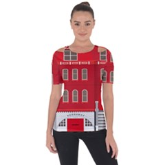 Red House Shoulder Cut Out Short Sleeve Top