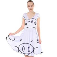 Pig Logo Cap Sleeve Front Wrap Midi Dress