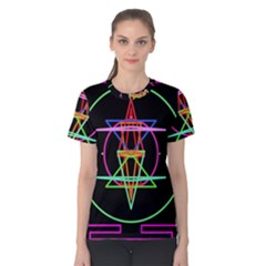 Drawing Of A Color Mandala On Black Women s Cotton Tee