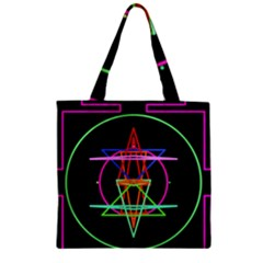 Drawing Of A Color Mandala On Black Zipper Grocery Tote Bag
