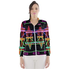 Drawing Of A Color Mandala On Black Windbreaker (women)