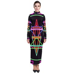 Drawing Of A Color Mandala On Black Turtleneck Maxi Dress