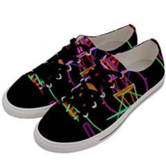 Drawing Of A Color Mandala On Black Men s Low Top Canvas Sneakers by Samandel