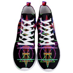 Drawing Of A Color Mandala On Black Men s Lightweight High Top Sneakers by Samandel