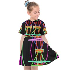 Drawing Of A Color Mandala On Black Kids  Sailor Dress