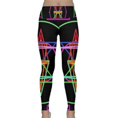 Drawing Of A Color Mandala On Black Lightweight Velour Classic Yoga Leggings