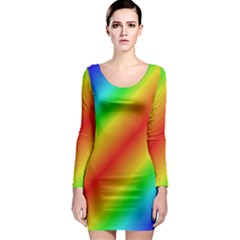 Background Diagonal Refraction Long Sleeve Bodycon Dress