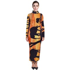 Family Of African Elephants Turtleneck Maxi Dress