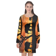 Family Of African Elephants Long Sleeve Chiffon Shift Dress