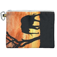 Family Of African Elephants Canvas Cosmetic Bag (xxl)
