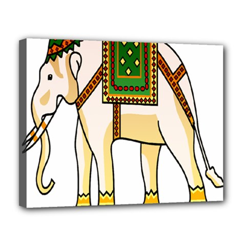 Elephant Indian Animal Design Canvas 14  X 11  (stretched)