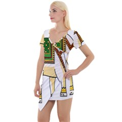 Elephant Indian Animal Design Short Sleeve Asymmetric Mini Dress