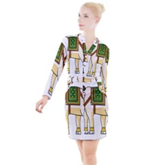 Elephant Indian Animal Design Button Long Sleeve Dress